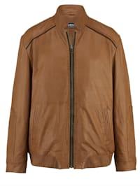 Kožená bunda s módní károvanou podšívkou