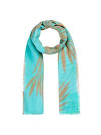 Schal mit exotischem Blätter-Print aus reiner Baumwolle