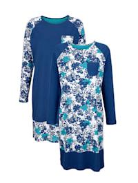 Chemises de nuit par lot de 2 à manches raglan contrastantes