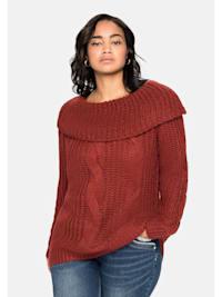 Pullover mit weitem Kragen und Zopfmuster