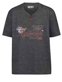 T-shirt à col tunisien d'aspect chiné