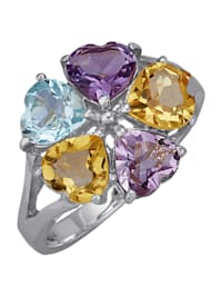 Naisten sormus – sydämenmallisia värillisiä kiviä