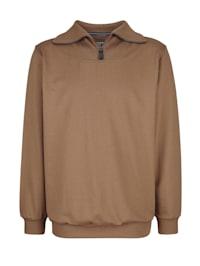 Sweatshirt met geribde kraag