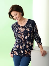 Pullover mit floralem Druck rundum