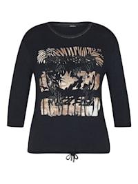 Shirt mit glitzerndem Front-Print und Nieten