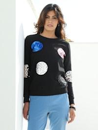 Sweatshirt mit Pailletten besetzt