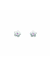 Damen Silberschmuck 925 Silber Ohrringe / Ohrstecker Blüte mit Zirkonia