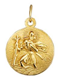 Pyhä Kristoforos -riipus keltakultaa