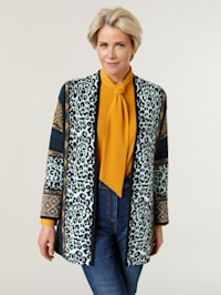 Cardigan with a mixed print