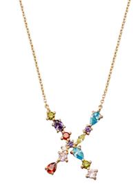 Collier Lettre X avec zirconia multicolore