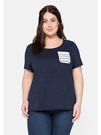 T-Shirt aus Jersey mit gestreifter Brusttasche