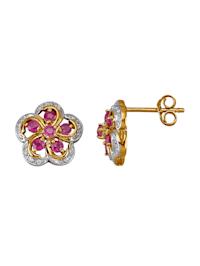 Kukkakorvakorut rubiineilla ja timanteilla