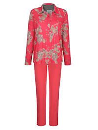 Schlafanzug mit kontrastfarbenem Ärmelaufschlag
