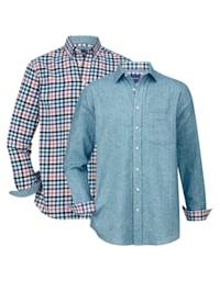 Flanellskjorta, 2-pack 1 enfärgad, 1 rutig