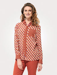 Bluse med grafisk retro-mønster
