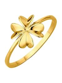 Kleeblatt-Ring in Gelbgold 375