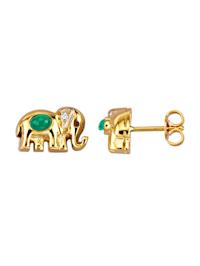Elefanten-Ohrstecker in Gelbgold