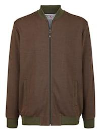 Sweatshirtjacka med jacquardstickat mönster