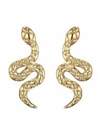 Ohrstecker für Damen, Sterling Silber 925 vergoldet, Schlange