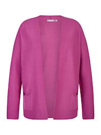 Cardigan mit unifarbenen Stoff und seitlichen Taschen