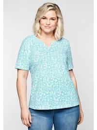 Shirt mit floralem Alloverprint und leichter A-Linie