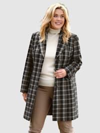 Vlnený krátky kabát celoplošne károvaný