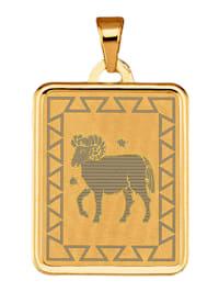 """Pendentif avec signe du zodiaque """"Bélier"""" en or jaune 375"""