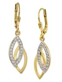 Ohrringe Gold auf 925 Silber Zirkonia Ohrhänger
