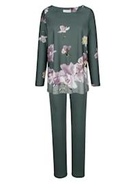 Pyžama s kvetinovou bordúrovou potlačou