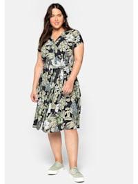 Hemdblusenkleid mit Blumendruck und Bindegürtel