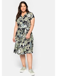 sheego by Joe Browns Hemdblusenkleid mit Blumendruck und Bindegürtel
