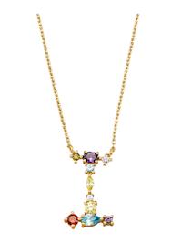 Halsband med bokstavshänge – I med cubic zirconia i flera olika färger