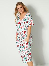 Jerseykjole med jordbærmønster
