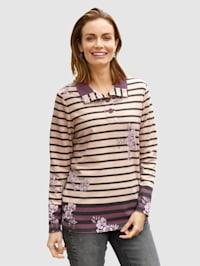 Sweatshirt med blomster- og stripemønster