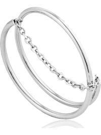 Ania Haie Damen-Damenring Modern Twist Chain Ring 925er Silber