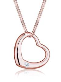 Halskette Herz Liebe Diamant (0.03 Ct.) 925 Silber
