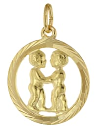 Sternzeichen Zwilling 333 Gold Anhänger Ø 16 mm