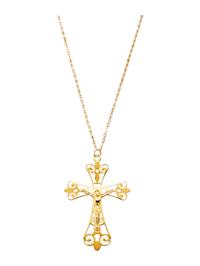 Pendentif -Croix- et chaîne en or jaune 375