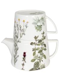 Teekanne mit Deckel & Becher 'Tea for me - Kräuter'