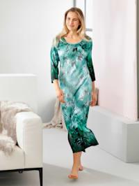 Hauskleid mit floralem Bordürendruck