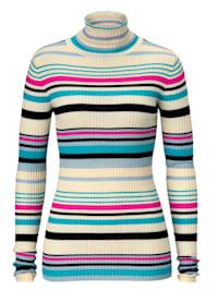 Pullover gerippt mit Multicolor Ringel