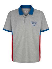 Poloshirt met contrastkleurige inzetten opzij