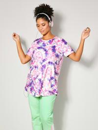 Longshirt met batikdessin rondom