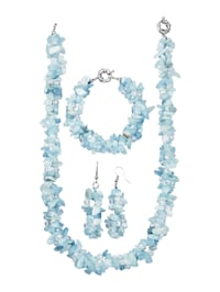 Halsband, armband och örhängen med akvamarin