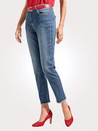 Jeans met sportieve bandjes