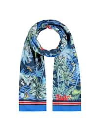 Schal mit Exotik-Print aus reiner Baumwolle