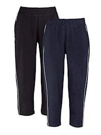 Lot de 2 pantalons de loisirs avec passepoil