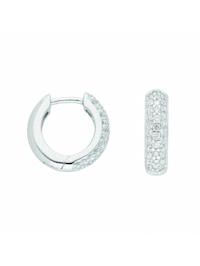 Damen Silberschmuck 925 Silber Ohrringe / Creolen mit Zirkonia Ø 14,2 mm