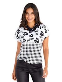 Shirt mit Blumenprint und Hahnentrittmuster