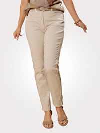 Trousers with fringed side stripes